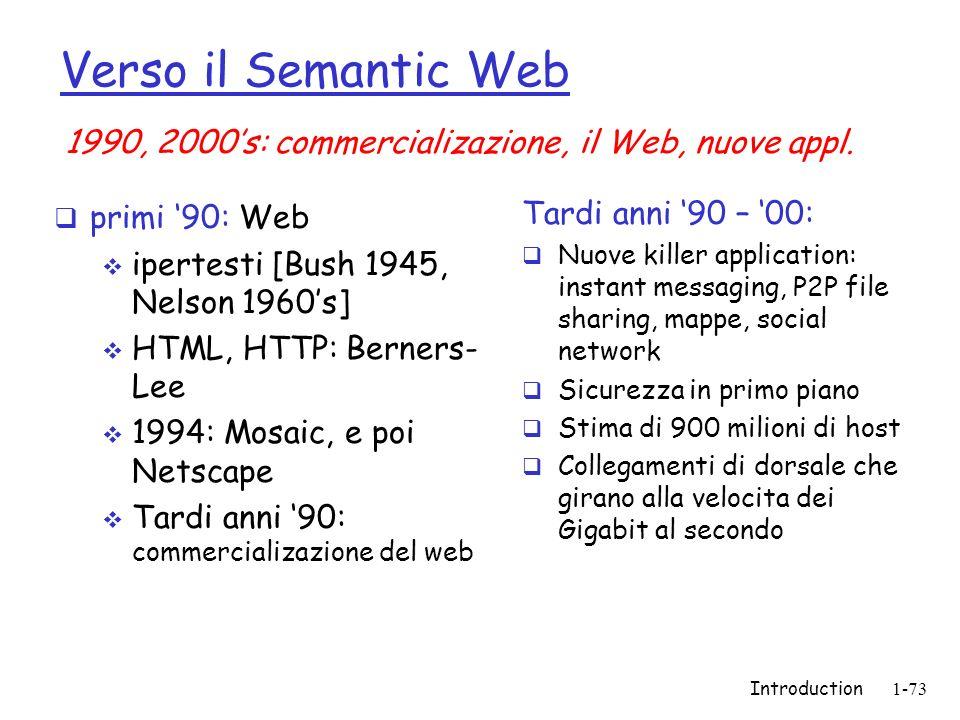 Verso il Semantic Web 1990, 2000's: commercializazione, il Web, nuove appl. primi '90: Web. ipertesti [Bush 1945, Nelson 1960's]